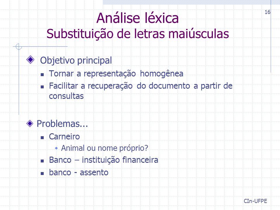 Análise léxica Substituição de letras maiúsculas