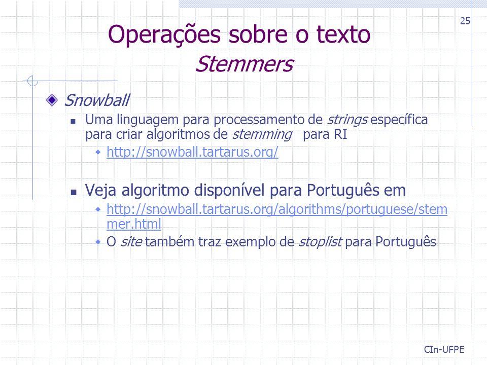 Operações sobre o texto Stemmers
