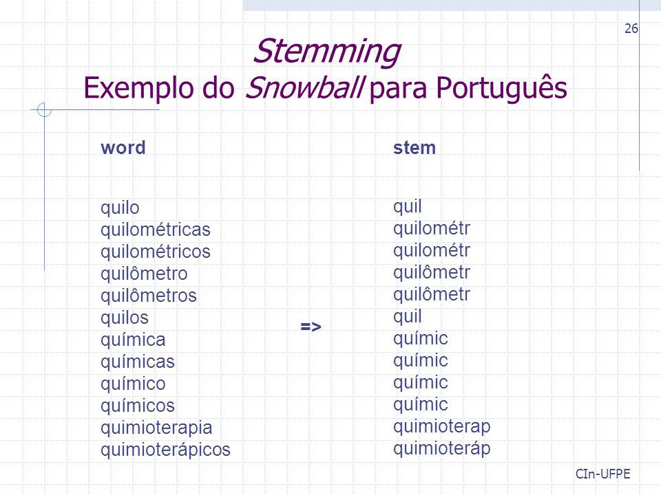 Stemming Exemplo do Snowball para Português