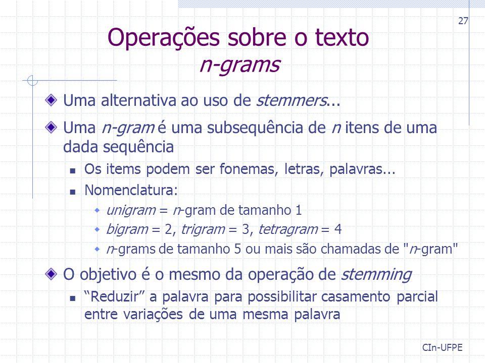 Operações sobre o texto n-grams