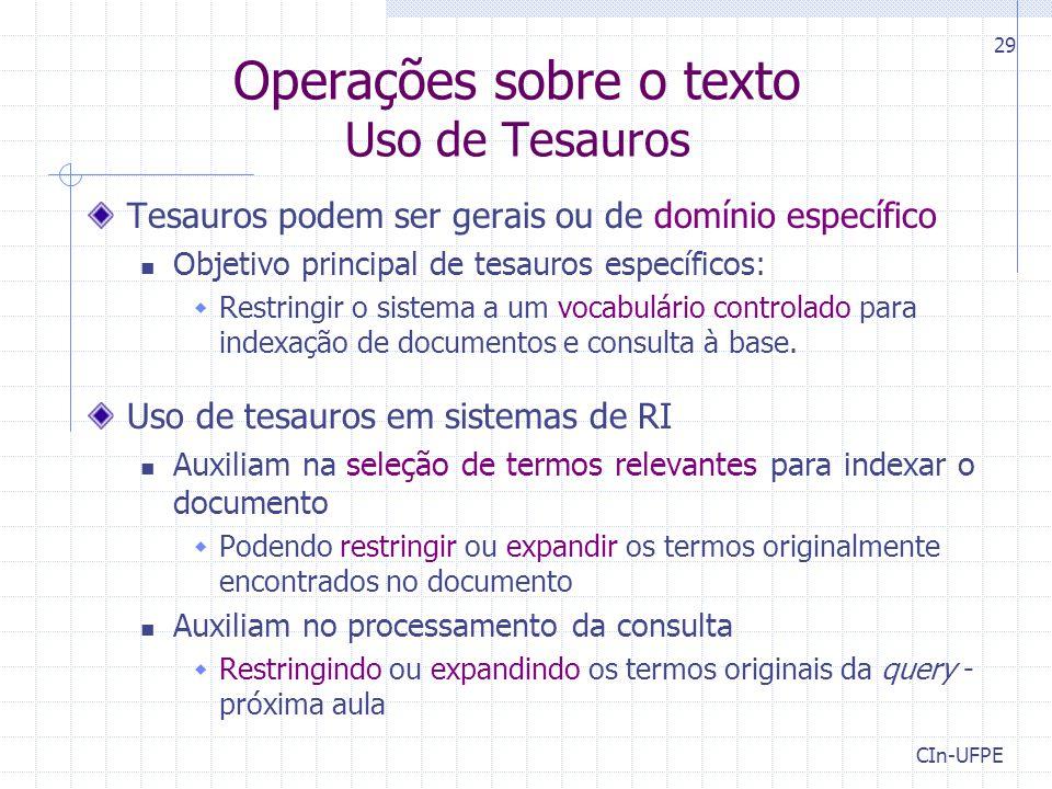 Operações sobre o texto Uso de Tesauros