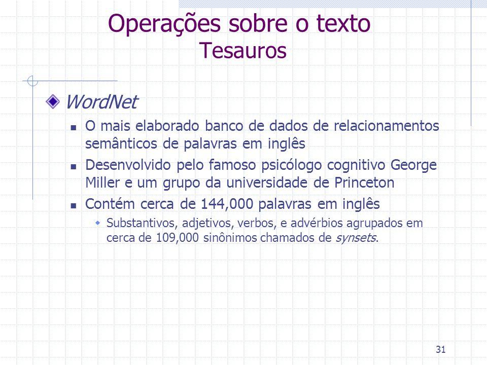 Operações sobre o texto Tesauros