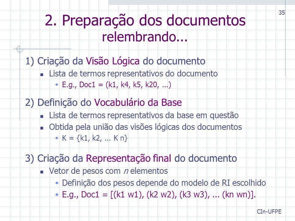2. Preparação dos documentos relembrando...