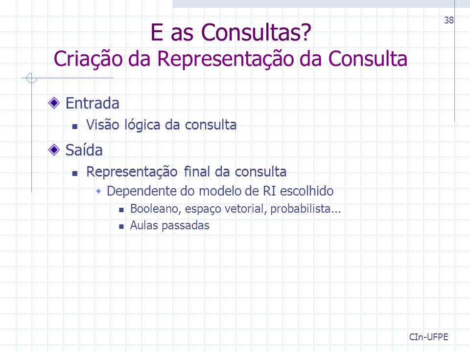 E as Consultas Criação da Representação da Consulta