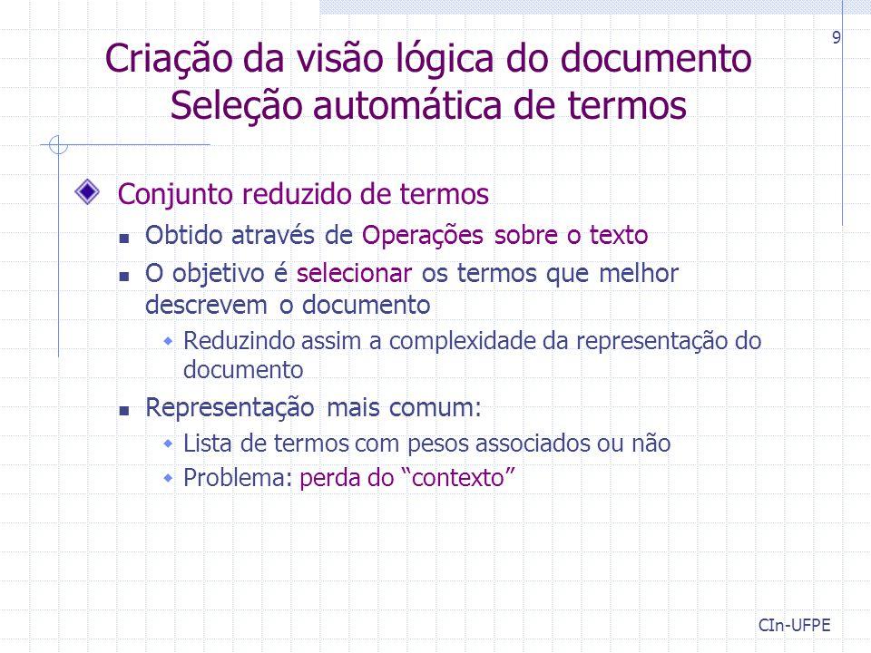 Criação da visão lógica do documento Seleção automática de termos