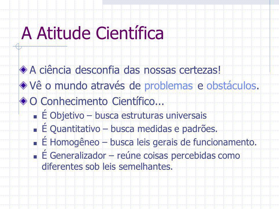 A Atitude Científica A ciência desconfia das nossas certezas!