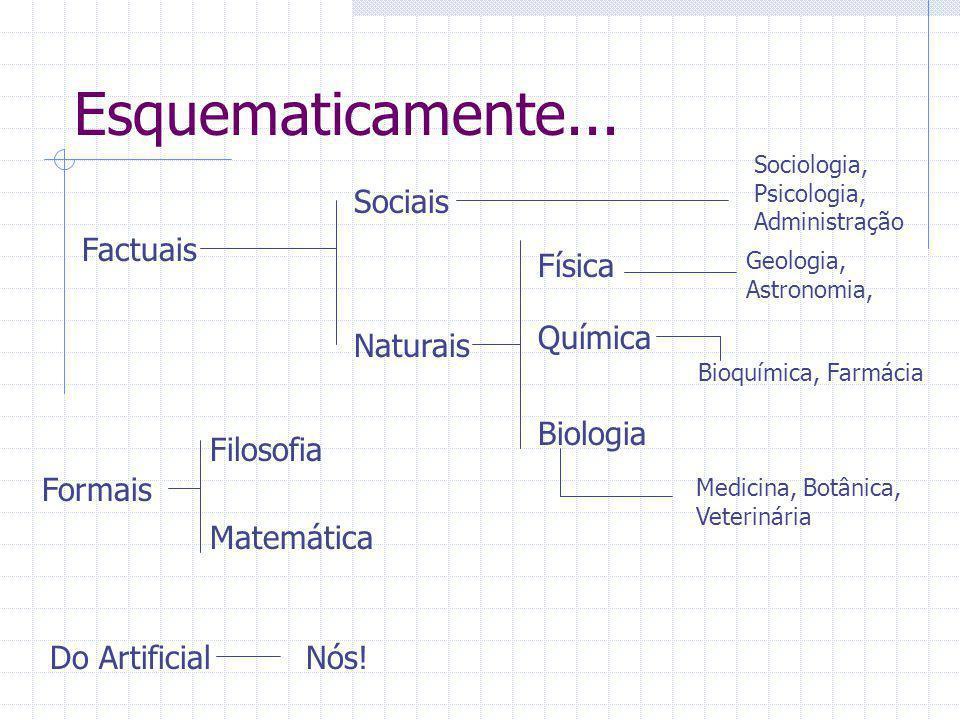 Esquematicamente... Sociais Factuais Física Química Naturais Biologia