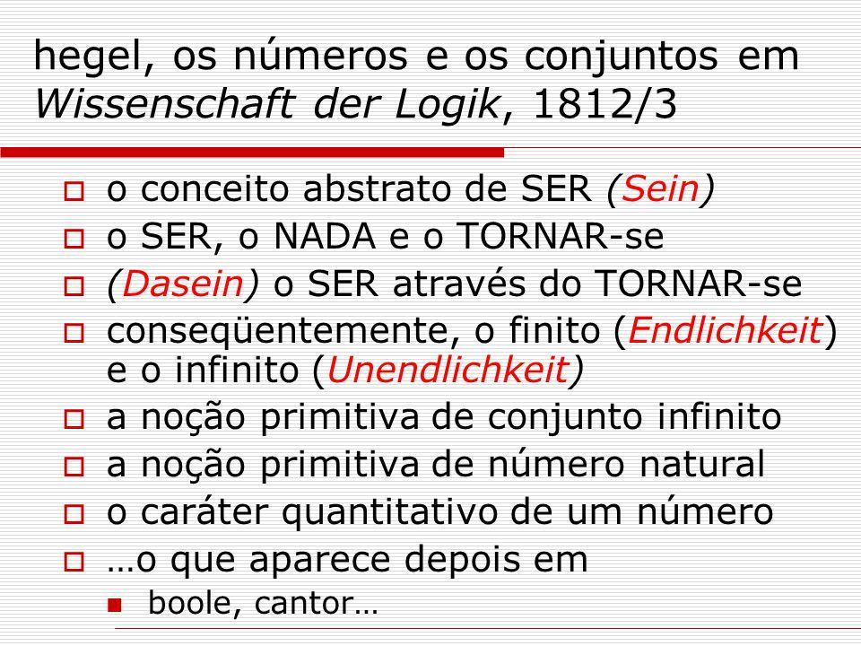 hegel, os números e os conjuntos em Wissenschaft der Logik, 1812/3