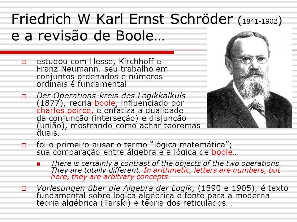 Friedrich W Karl Ernst Schröder (1841-1902) e a revisão de Boole…