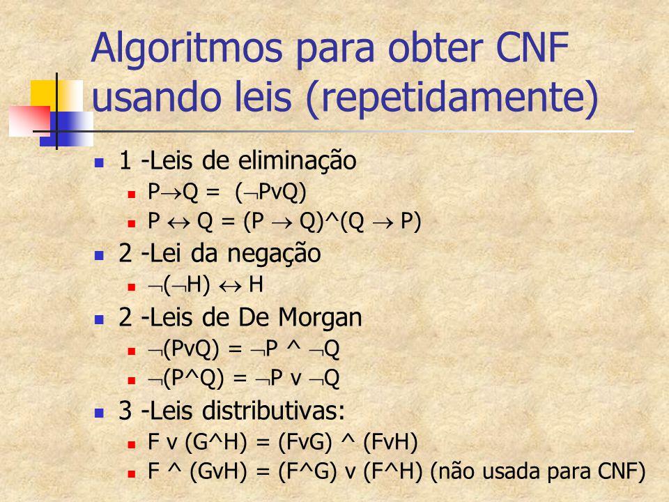 Algoritmos para obter CNF usando leis (repetidamente)