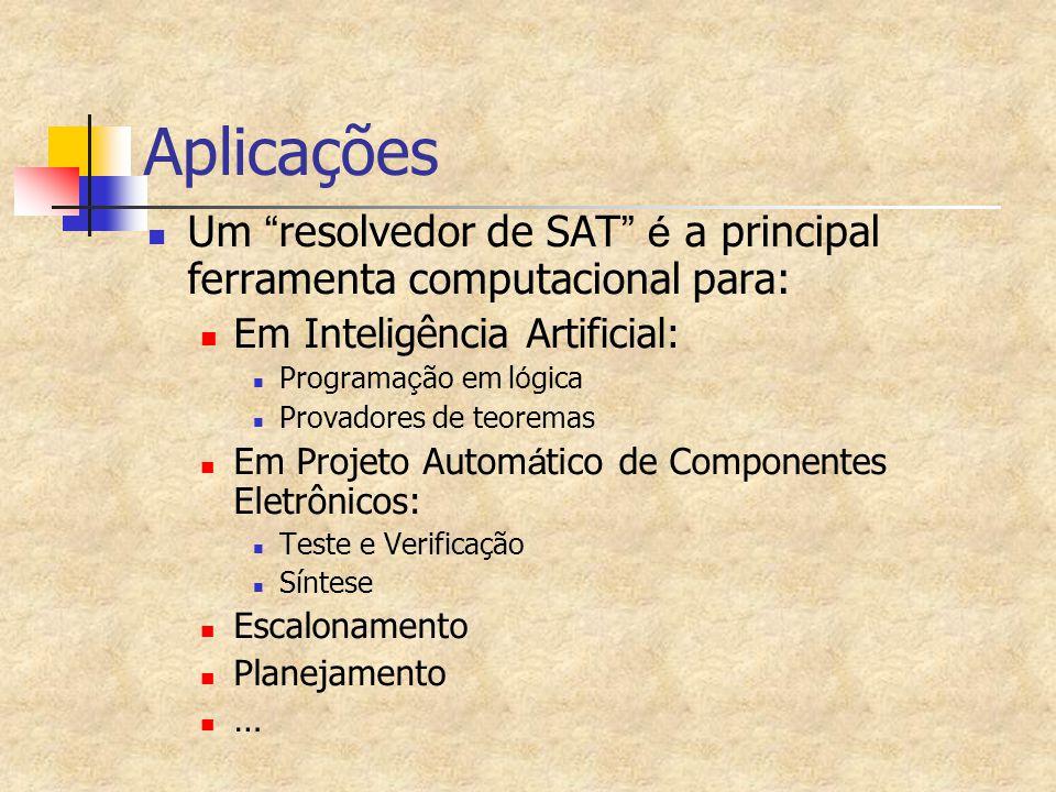 Aplicações Um resolvedor de SAT é a principal ferramenta computacional para: Em Inteligência Artificial: