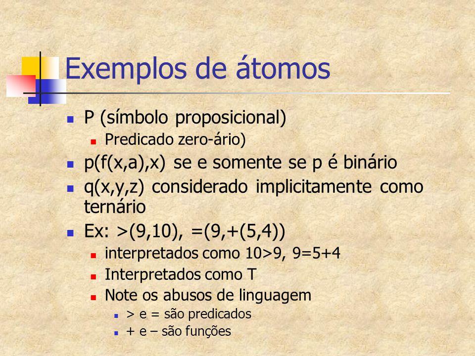Exemplos de átomos P (símbolo proposicional)