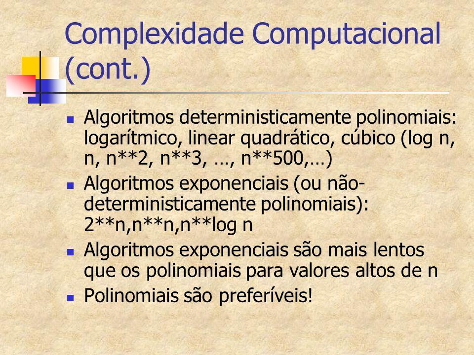 Complexidade Computacional (cont.)