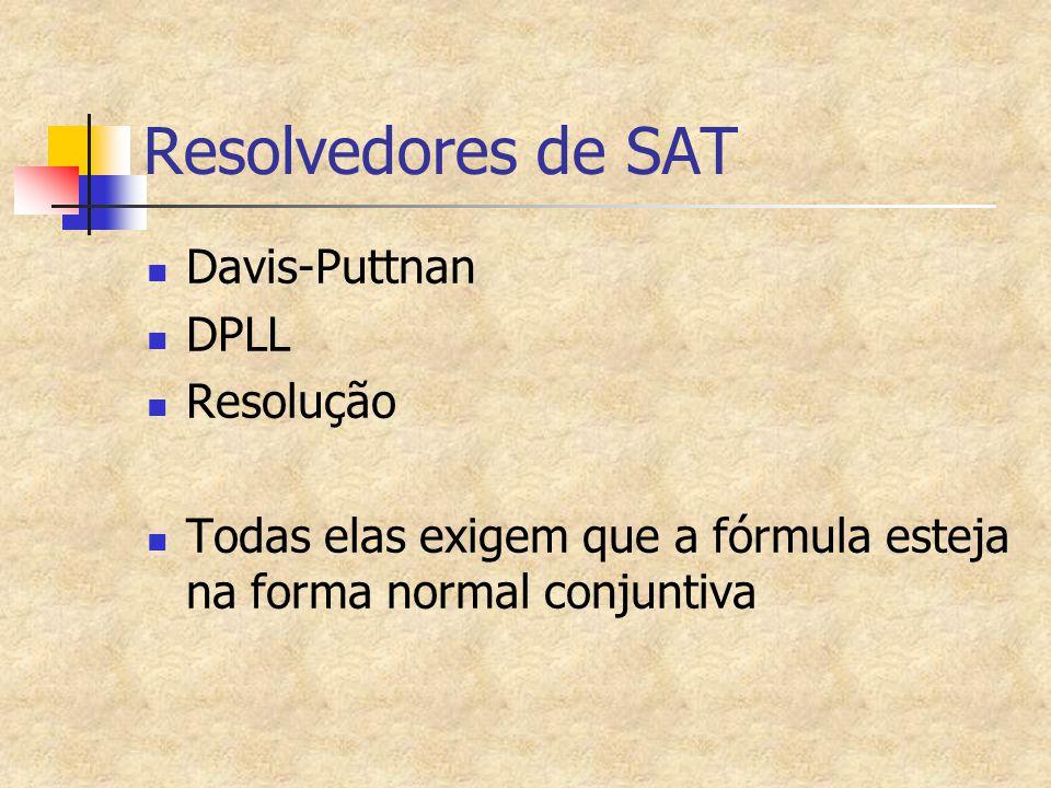 Resolvedores de SAT Davis-Puttnan DPLL Resolução
