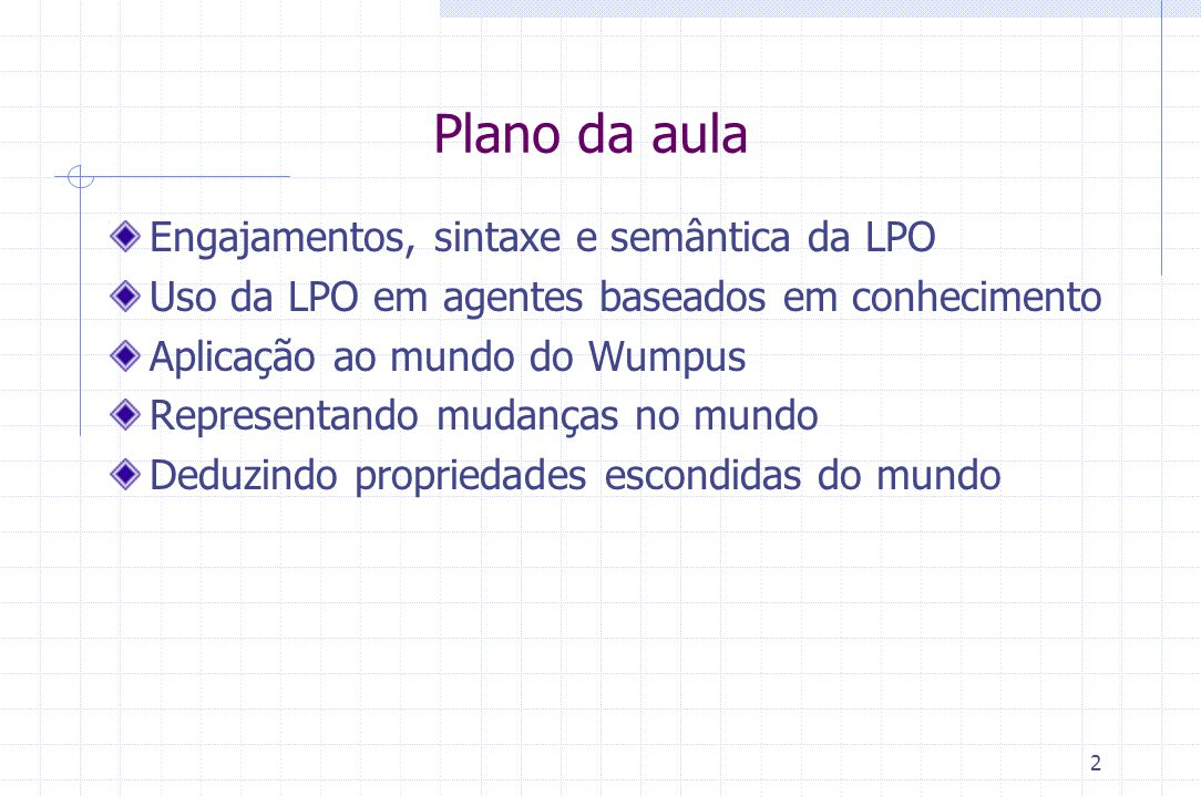 Plano da aula Engajamentos, sintaxe e semântica da LPO