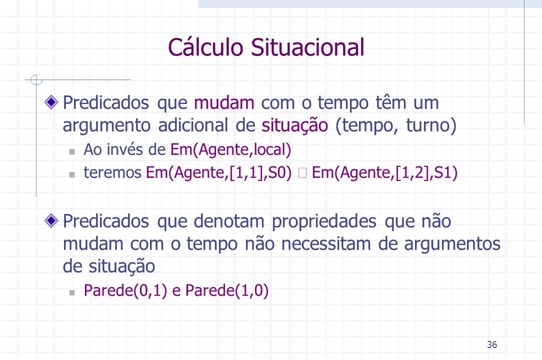 Cálculo Situacional Predicados que mudam com o tempo têm um argumento adicional de situação (tempo, turno)