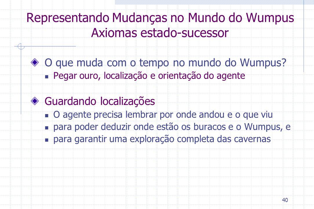 Representando Mudanças no Mundo do Wumpus Axiomas estado-sucessor