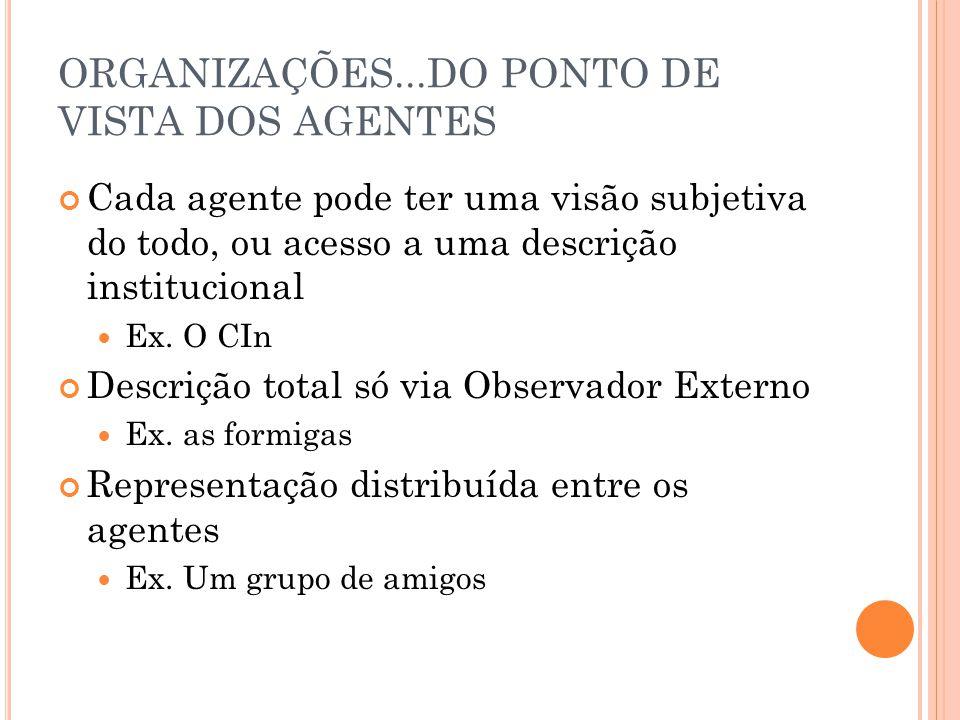 ORGANIZAÇÕES...DO PONTO DE VISTA DOS AGENTES