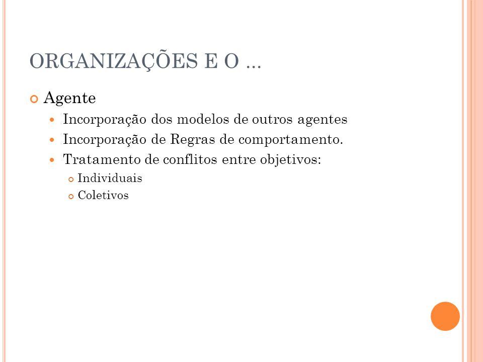 ORGANIZAÇÕES E O ... Agente Incorporação dos modelos de outros agentes