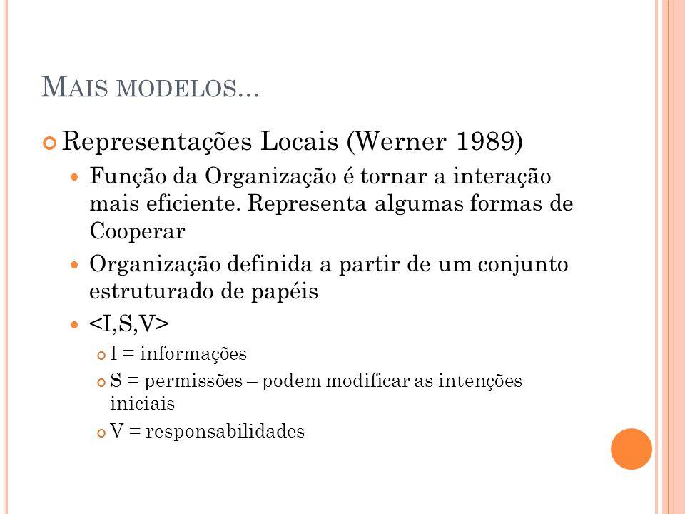 Mais modelos... Representações Locais (Werner 1989)