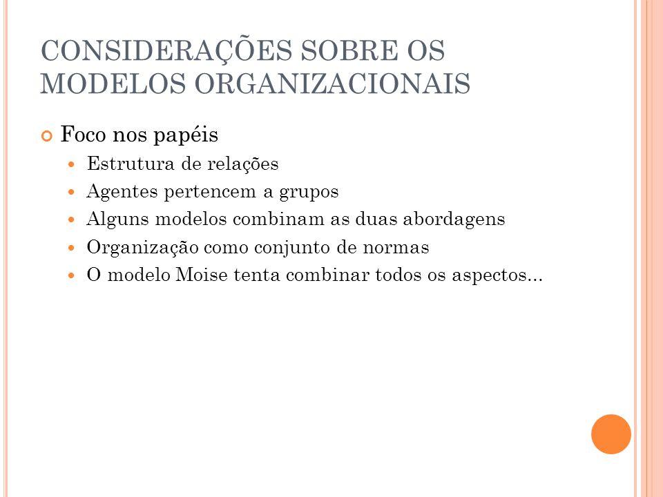 CONSIDERAÇÕES SOBRE OS MODELOS ORGANIZACIONAIS