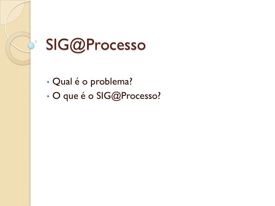 Qual é o problema O que é o SIG@Processo