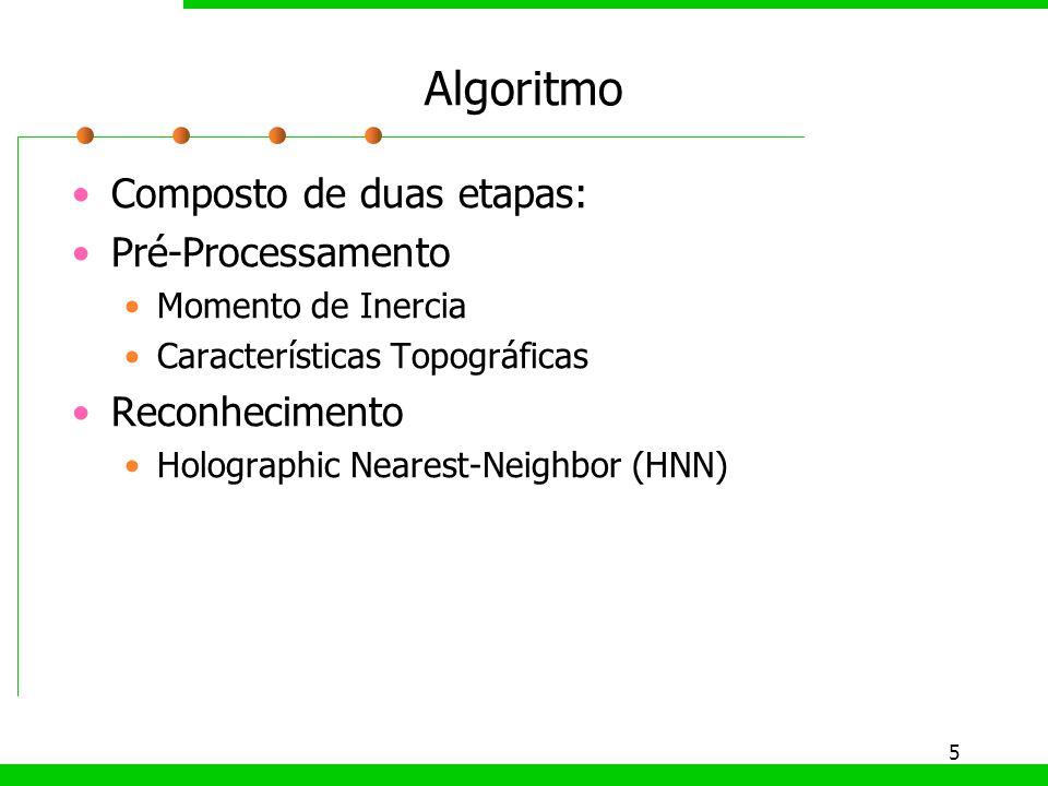 Algoritmo Composto de duas etapas: Pré-Processamento Reconhecimento