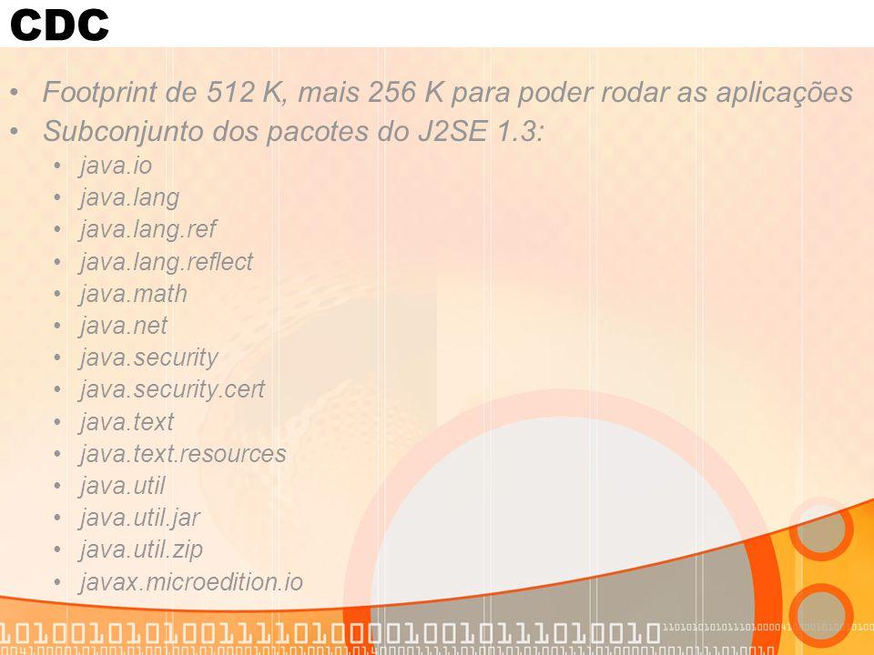 CDC Footprint de 512 K, mais 256 K para poder rodar as aplicações
