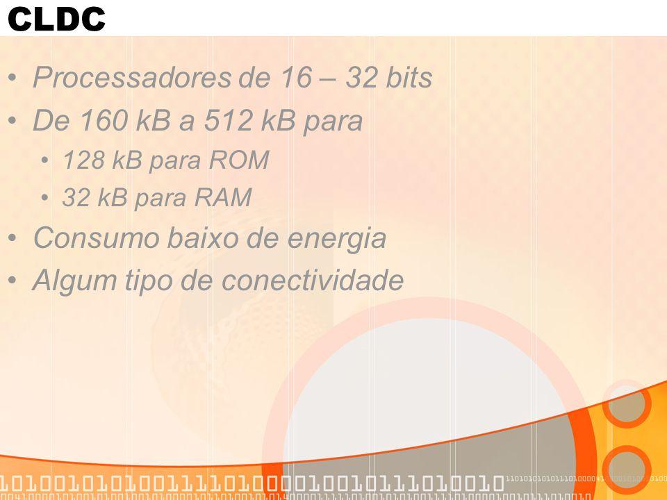 CLDC Processadores de 16 – 32 bits De 160 kB a 512 kB para