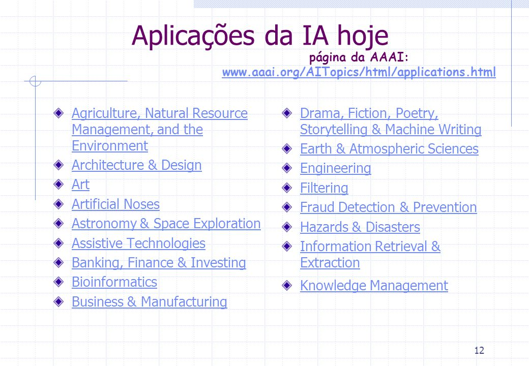 página da AAAI: www.aaai.org/AITopics/html/applications.html