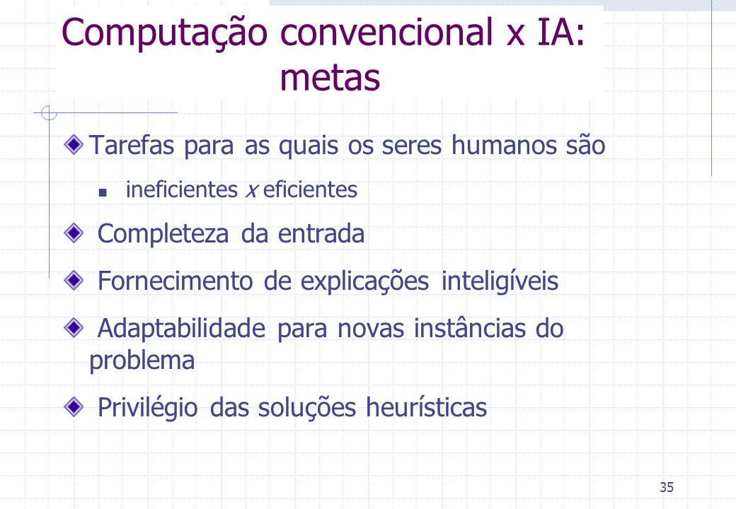 Computação convencional x IA: metas