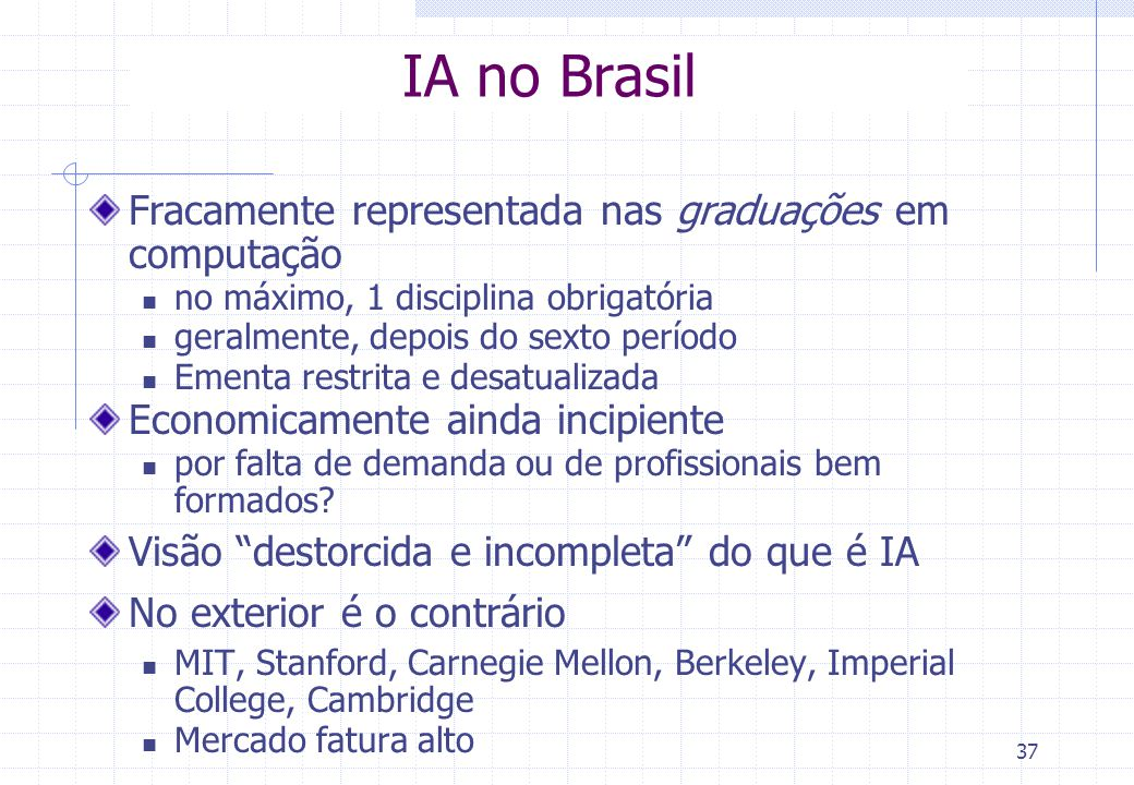 IA no Brasil Fracamente representada nas graduações em computação