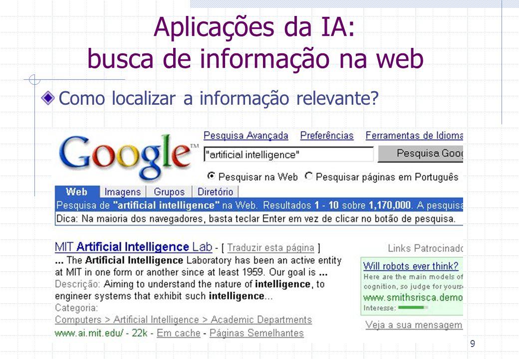 Aplicações da IA: busca de informação na web