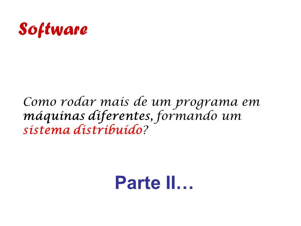 Software Como rodar mais de um programa em máquinas diferentes, formando um sistema distribuído.