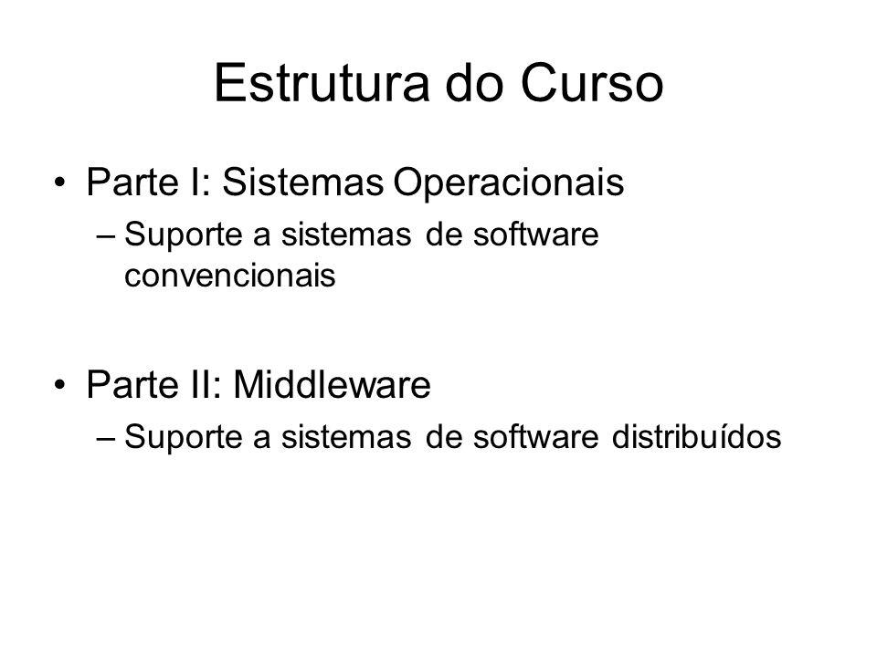 Estrutura do Curso Parte I: Sistemas Operacionais Parte II: Middleware