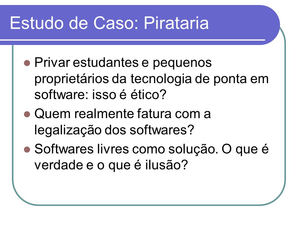 Estudo de Caso: Pirataria