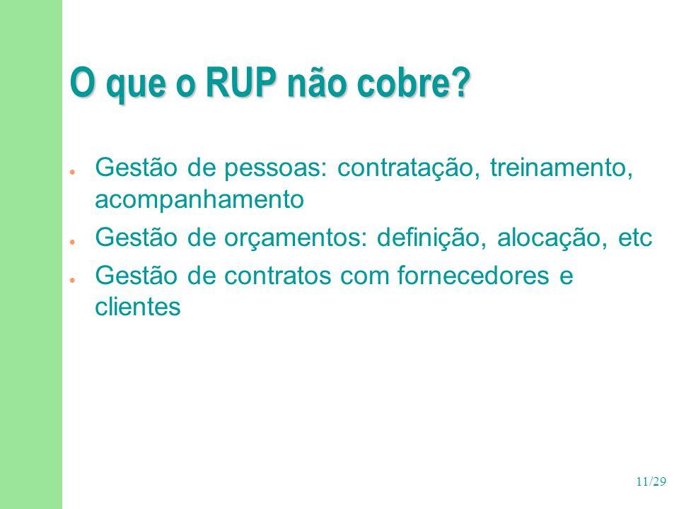 O que o RUP não cobre Gestão de pessoas: contratação, treinamento, acompanhamento. Gestão de orçamentos: definição, alocação, etc.
