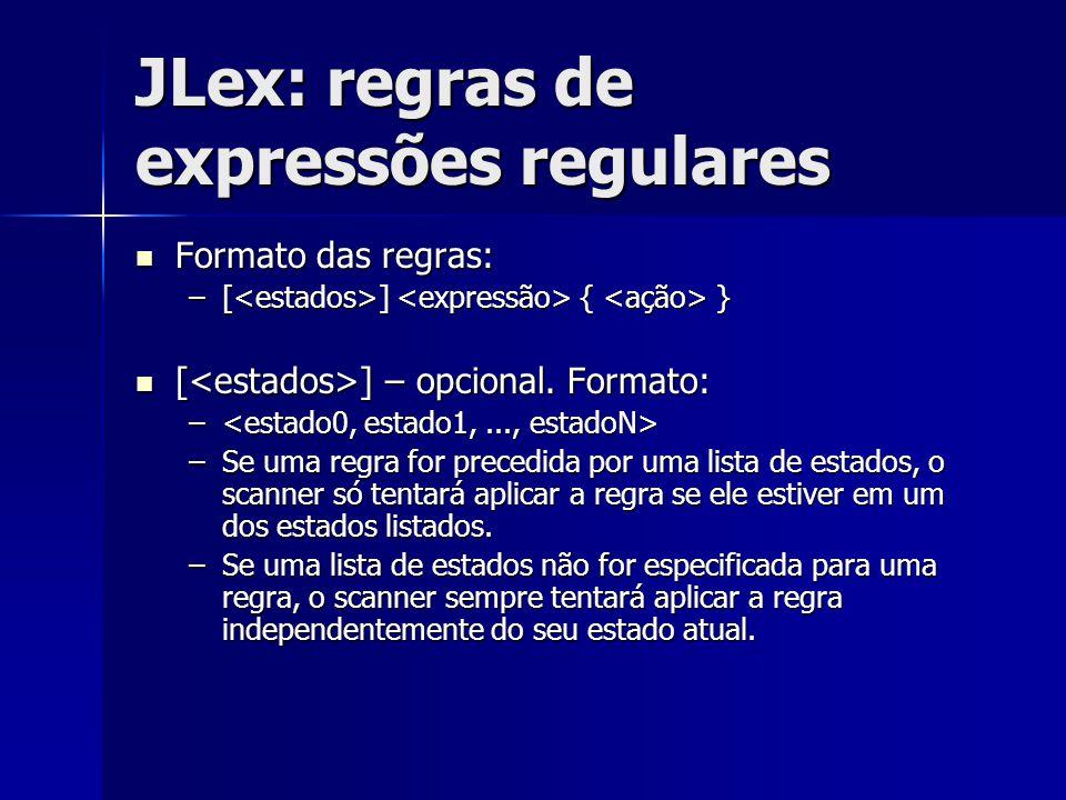 JLex: regras de expressões regulares