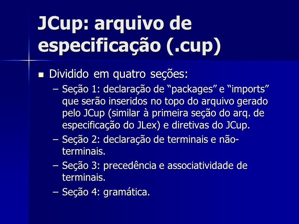 JCup: arquivo de especificação (.cup)