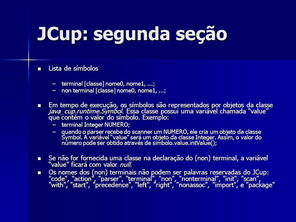 JCup: segunda seção Lista de símbolos