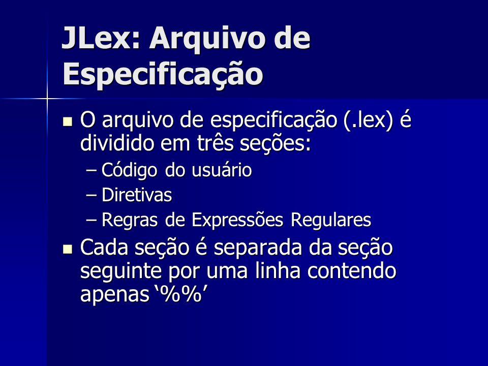 JLex: Arquivo de Especificação