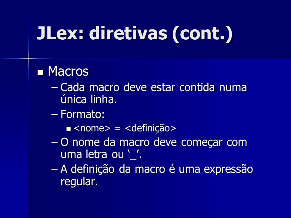JLex: diretivas (cont.)