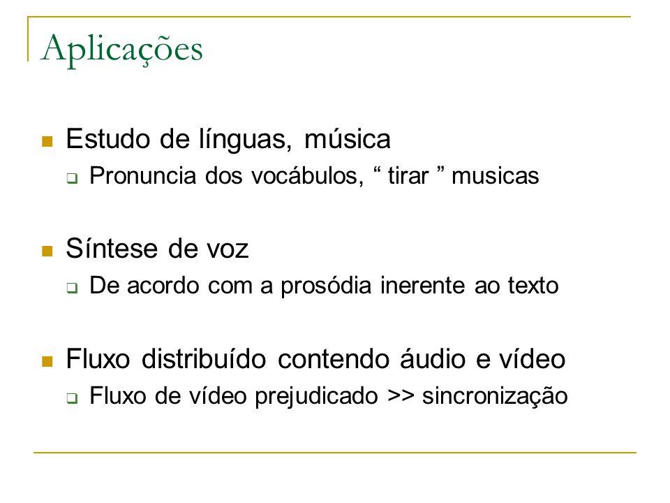 Aplicações Estudo de línguas, música Síntese de voz