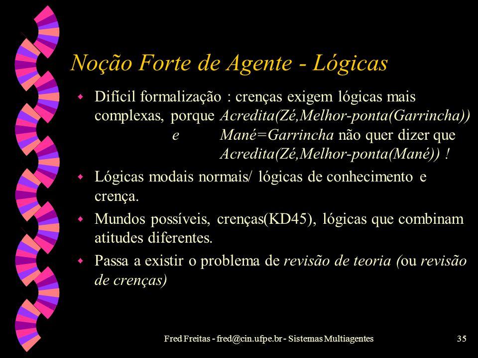 Noção Forte de Agente - Lógicas