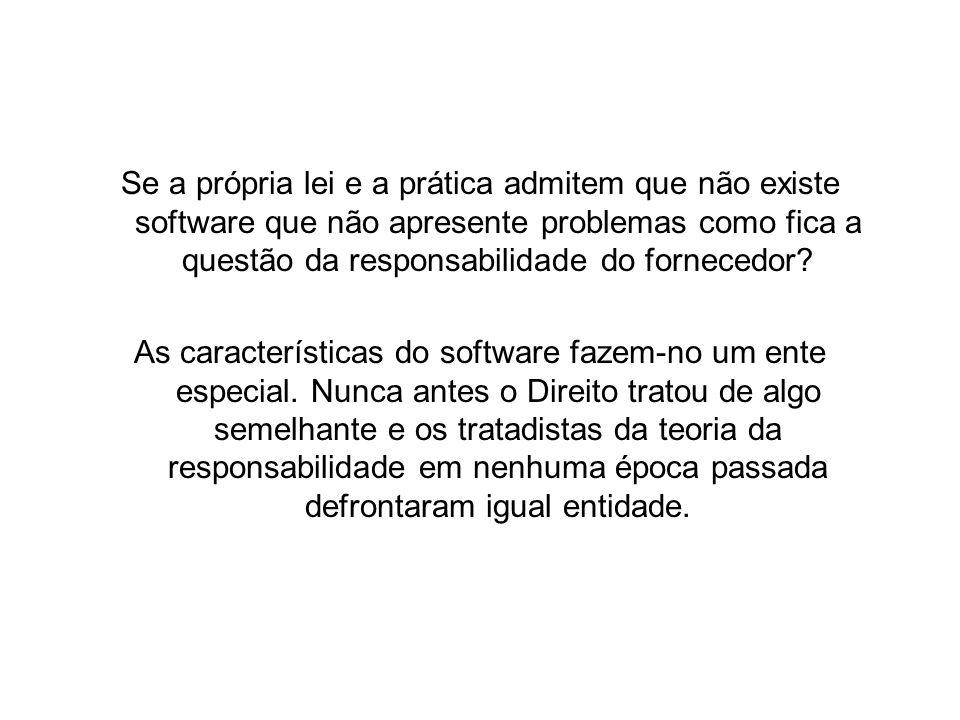 Se a própria lei e a prática admitem que não existe software que não apresente problemas como fica a questão da responsabilidade do fornecedor