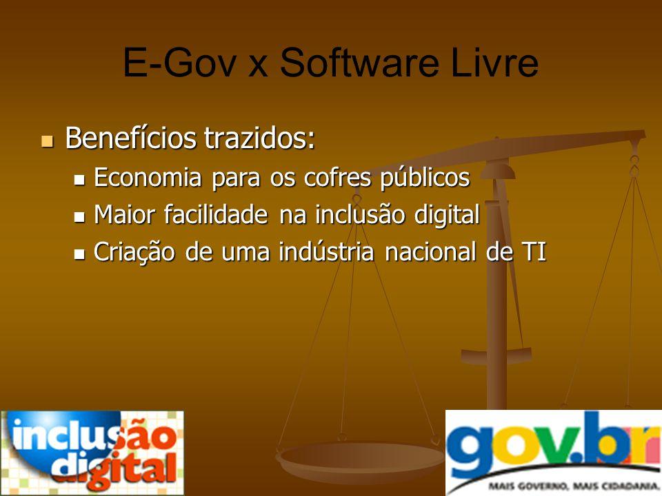 E-Gov x Software Livre Benefícios trazidos: