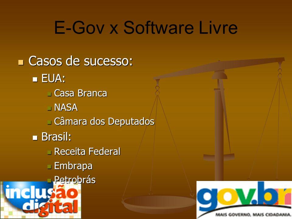 E-Gov x Software Livre Casos de sucesso: EUA: Brasil: Casa Branca NASA