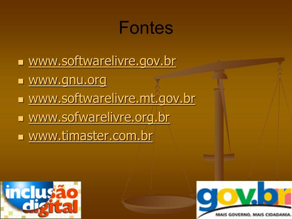 Fontes www.softwarelivre.gov.br www.gnu.org