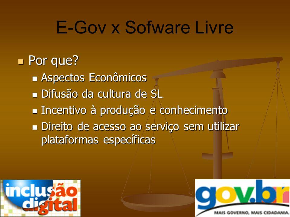 E-Gov x Sofware Livre Por que Aspectos Econômicos