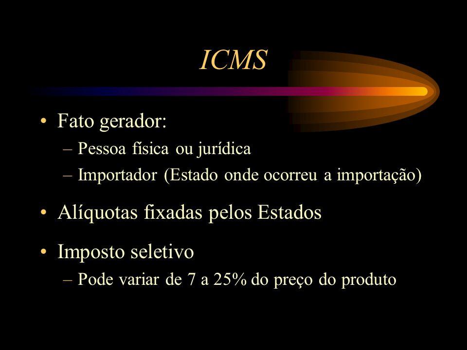 ICMS Fato gerador: Alíquotas fixadas pelos Estados Imposto seletivo